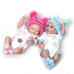Minidiva Reborn Baby Dolls, 2pcs 10 inch/26cm Boy and Girl T