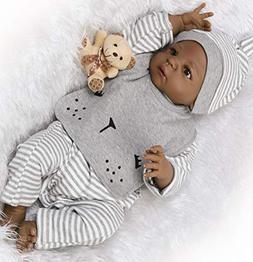 Reborn Baby Dolls African American Boys Silicone Full Body B