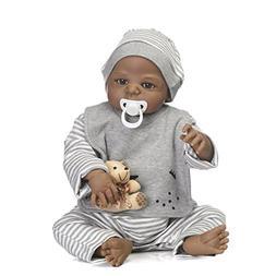 Reborn Baby Dolls African American Boy Full Silicone Body 22