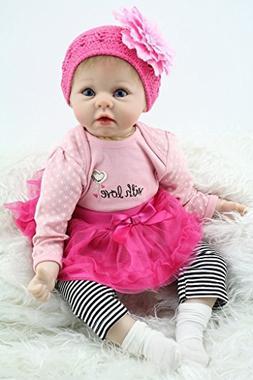 """OCSDOLL Reborn Baby Dolls 22"""" Cute Realistic Soft Silicone V"""