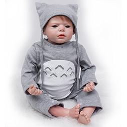 Yesteria Reborn Baby Dolls Boy Look Real Silicone Vinyl Grey