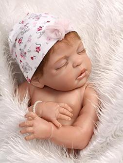 "NPK Realistic Reborn Baby Dolls Girl 22"" Lifelike Full Silic"