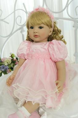 "Toddler Reborn Dolls Girl Blonde Curly Hair 24"" Real Life Ba"