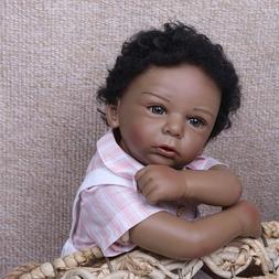 "Reborn Toddler Doll 20"" African American Black Boy Dolls Han"