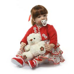 Reborn Baby Dolls with Red Coat and Dress 24 Silicone baby d