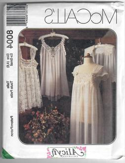 McCall's 8004 misses lingerie pattern nightgown, robe, baby