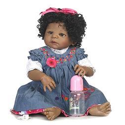 SCDOLL African American Reborn Baby Dolls Full Silicone Body