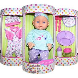 Baby Doll Clothes and Accessories Set - Playset Includes 12