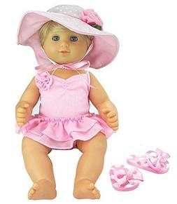 3 Pc Set, 15 Inch Doll Clothes, Light Pink Flip Flops, Polka