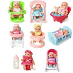 "Set Of 8 Assorted 5"" Mini Dolls, High Chair, Stroller, Crib,"