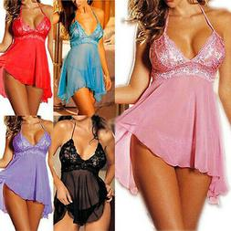 Sexy Lingerie for Women Lace Mesh Babydolls V Neck Strap Bac