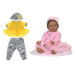 Silicone Black Skin 22inch Reborn African American Baby Doll