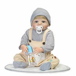 "NPK Silicone Full Body Baby Reborn Boy Doll 22"" Eyes Open Re"