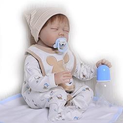 KEIUMI Sleeping Reborn Baby Dolls Soft Silicone 22 Inch Boy