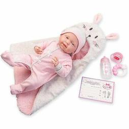 JC Toys, Soft Body La Newborn 15.5 inches baby doll -Pink Bu
