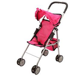 Spring Doll Stroller Pink Kids Toy Girls Double Set Gift Bab
