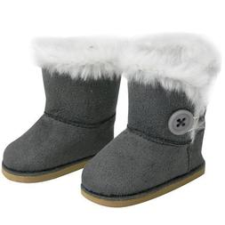 Stylish 18 Inch Doll Boots w/Button White Fur Fits American