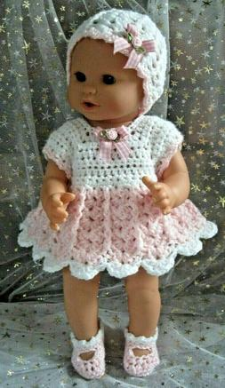 Sweet DRESS, HAT & SHOE set for 14-inch Corolle Baby Dolls