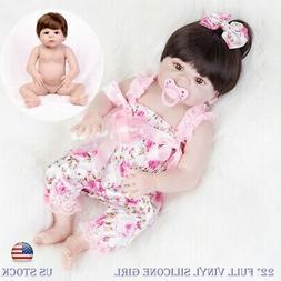 """Toddler 22"""" Reborn Dolls Full Vinyl Silicone Girl Lifelike N"""