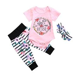 Toddler Baby Girls Boys 3Pcs Clothes Sets for 0-12 Months, L