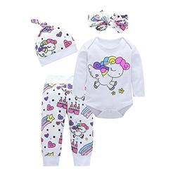 Toddler Baby Girls Boys 4Pcs Clothes Sets for 0-18 Months,Ra