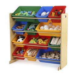 Tot Tutors Kids Toy Storage Organizer With 12 Plastic Bins,