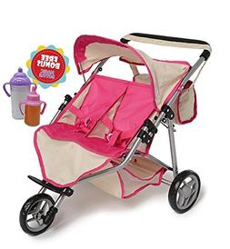 Twin DOLL Jogger Stroller with Diaper Bag, Off white/Pink de