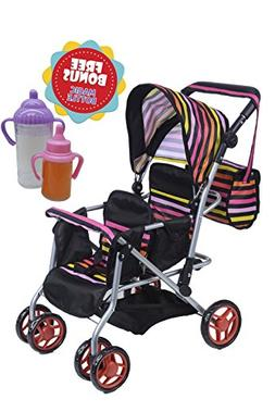 TWIN DOLL Stroller with Diaper Bag and Swivel Wheels by Exqu