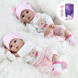 "Twins Reborn Baby Dolls 22"" Realistic Vinyl Silicone Handmad"