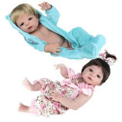 Twins Reborn Baby Dolls Girl&Boy Full Body Vinyl Silicone Ba