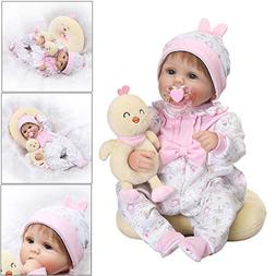 GMSP 16inches Vinyl Newborn Baby Lifelike Doll with White On