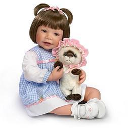 Waltraud Hanl Poseable Lifelike Girl Doll with Plush Kitten