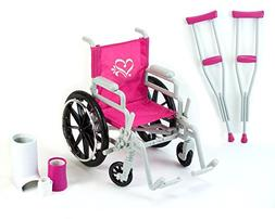 "NEW WHEELCHAIR CRUTCHES CASTS BANDAGE for 18"" Girl Doll Doll"