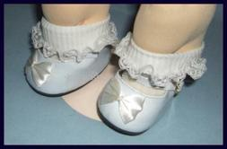 WHITE Patent Mary Jane Doll SHOES fit CABBAGE PATCH KIDS & M