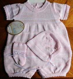 Will'beth Newborn Baby Girl Pink Knit Outfit Bonnet Booties