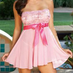 Women Lace Sexy Lingerie Sheer Babydoll Dress See Through Ni