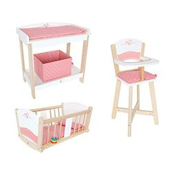Hape Wooden Baby Doll Highchair + Play Baby Cradle + Diaper